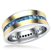 Cigar Channel Diamond Wedding Band