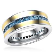 Cigar Channel Diamond Wedding Band - 8mm