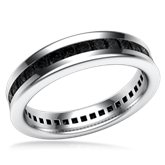 Cigar Channel Diamond Wedding Band - 5mm