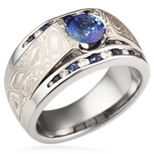 Mokume Flush Stone Mangagement Ring