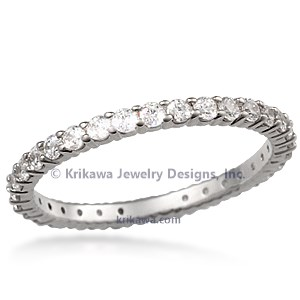 Shared Prong Wedding Band- 1.7mm Diamonds