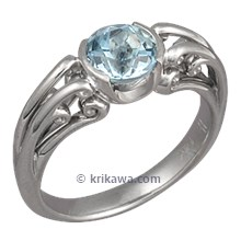 Carved Curls Engagement Ring with Aquamarine