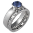 Modern Straight, Tapered Head Engagement Ring with Blue Sapphire Bridal Set