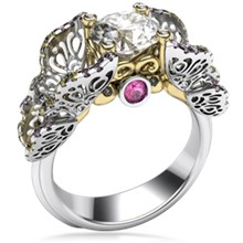 Butterfly Fishtail Pave Engagement Ring