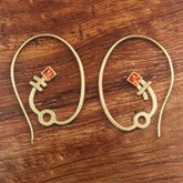 Yellow Gold Earring Hoops with Orange Sapphire