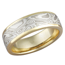 White Mokume Band with Gold Liner
