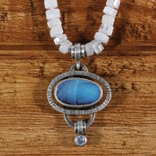 Opal, Moonstone & Sapphire Necklace