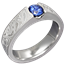 Mokume Flush Stone Solitaire Engagement Ring with a Blue Sapphire