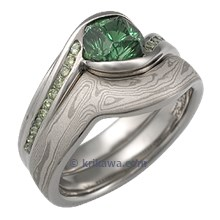 Carved Wave Engagement Ring with Green Tourmaline and Mokume Wedding Band