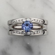 Blue Sapphire Carved Branch Bridal Set - top view