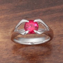 Ruby Carved Branch Engagement Ring - top view