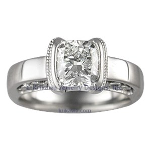 Modern Curls Engagement Ring with Cushion Cut Diamond