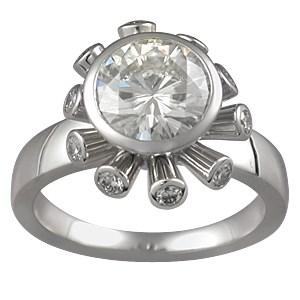 Sputnik Engagement Ring with White Diamonds