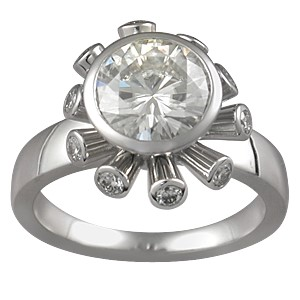Sputnik Engagement Ring with White Diamonds
