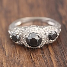 Black Three Stone Pave Engagement Ring