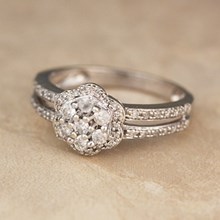 Diamond Flower Halo Pave Engagement Ring
