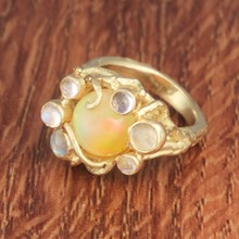 Opal & Yellow Gold Bubble Ring