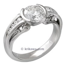 Carved Curls Engagement Ring with Round White Diamond