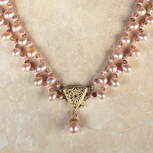 Diamond & Pearl Coral Flower Necklace