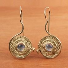 Moonstone & Gold Double Weave Earrings