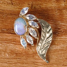 Moonstone & Opal Chased Leaf Flower Pin