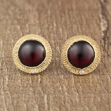 Garnet & Gold Single Weave Cast Earrings