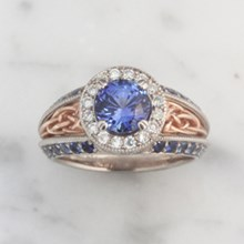 Sapphire Vintage Celtic Knot Engagement Ring - top view
