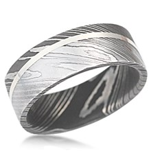 Angled Two-Tone Damascus Steel Band
