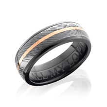 Traditional Damascus Steel Band With Center Stripe in Black Zirconium Liner