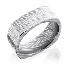 Square Damascus Steel Band