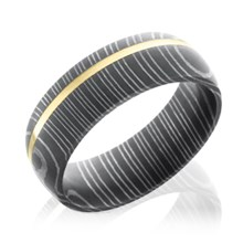 Damascus Steel Band With Off-Center Stripe
