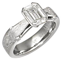 Mokume Bridge Engagement Ring with Platinum