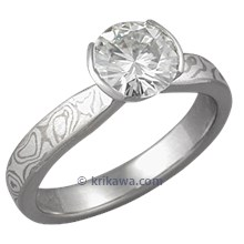 Mokume Solitaire Tapered Engagement Ring in White with Narrow Band