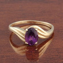 Amethyst & Yellow Gold Ring - top view