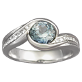 Carved Wave Engagement Ring with Blue Sapphire