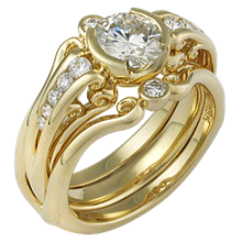 Carved Curls Engagement Ring in Yellow Gold with Enhancer