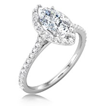 Marquise Halo Pave Engagement Ring