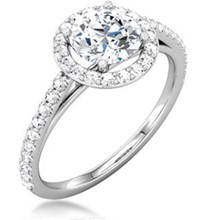 Round Halo With Cathedral Pave Engagement Ring
