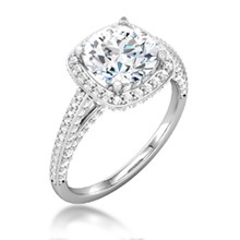 Regal Cushion Halo Engagement Ring
