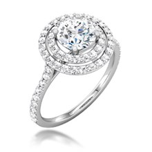 Double Round Halo Pave Engagement Ring