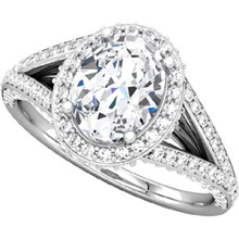Oval Halo Pave Double Band Engagement Ring - top view