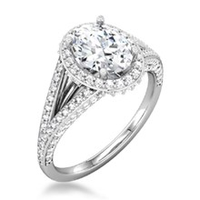 Oval Halo Pave Double Band Engagement Ring