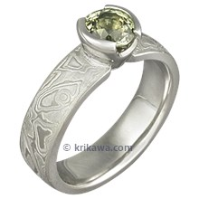 Mokume Solitaire Straight Tapered Engagement Ring with Green Diamond