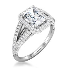 Radiant Center & Cushion Halo Double Band Engagement Ring
