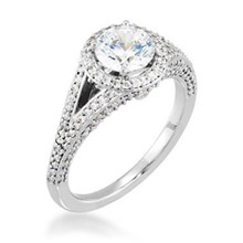 Round Halo Pave Double Band Engagement Ring