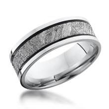 Meteorite Band with Black Grooves
