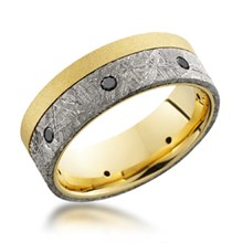 Two-Tone Meteorite Band With Diamonds