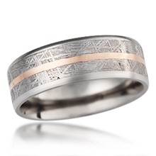 Meteorite Band With Center Stripe