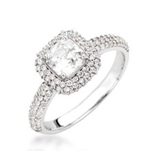 Asscher Center & Cushion Halo Pave Engagement Ring