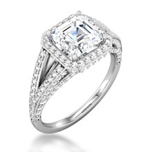 Asscher Halo Pave Double Band Engagement Ring